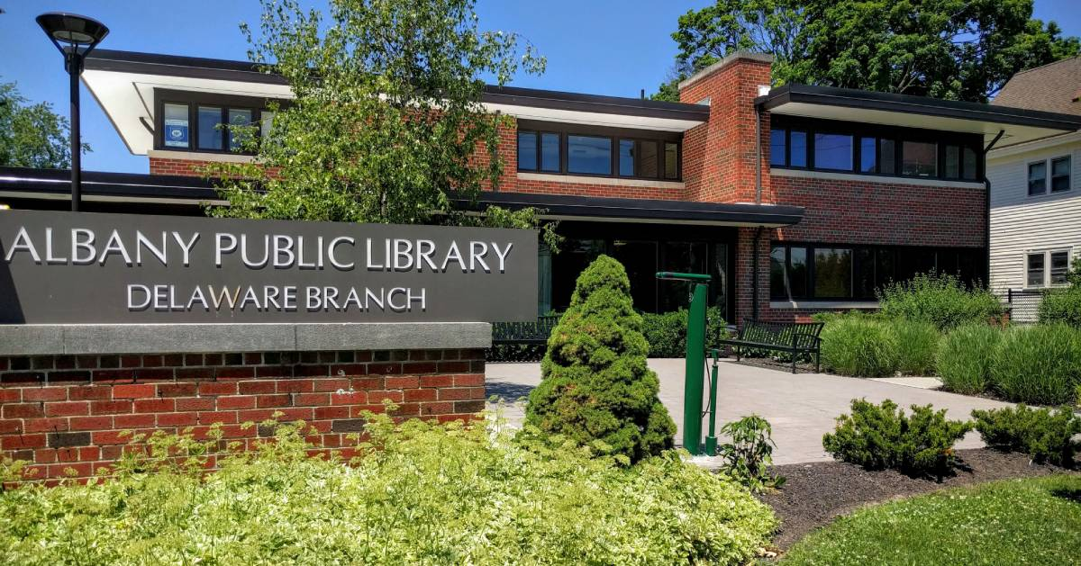 outside of Albany Public Library Delaware branch
