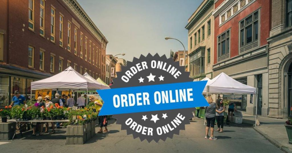 order online logo over farmers market image