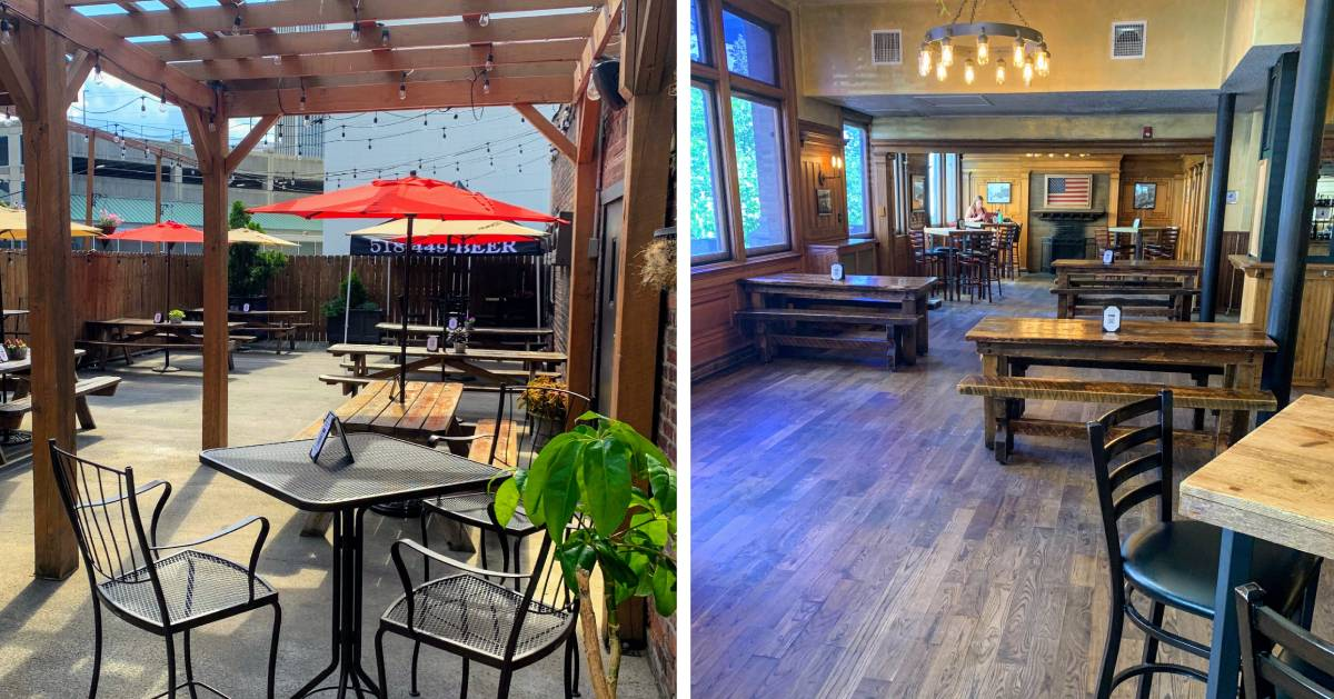 split image with outdoor dining on the left and indoor on the right