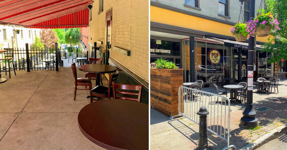 split image of outdoor dining on different patios