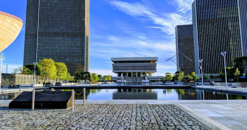 pool and buildings in Albany's empire state plaza