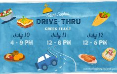 blue event poster that reads saint sophia drive thru greek feast