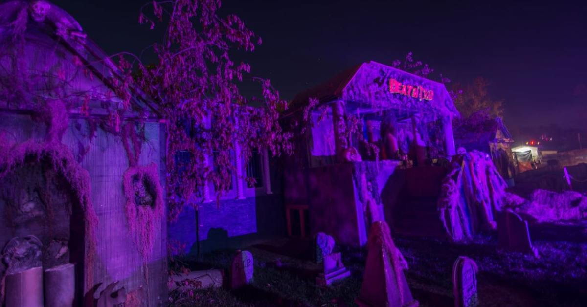 purple glow over outdoor halloween attraction