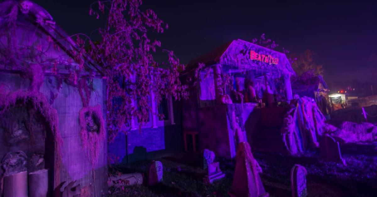 purple glow over outdoor halloween attraction