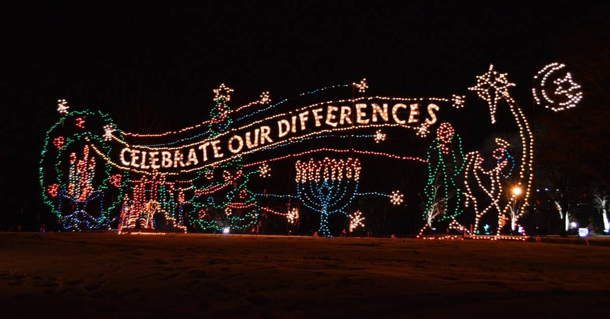 holiday lights that read celebrate out differences