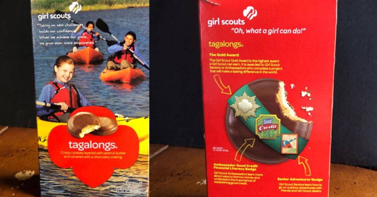 front and back of a box of girl scout cookies