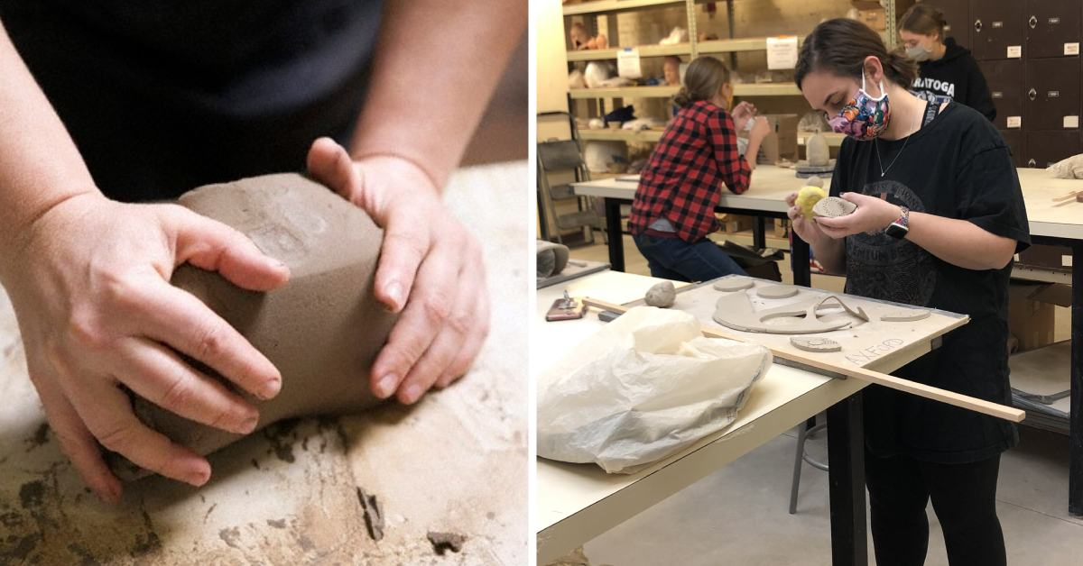 left image of hands working with clay and right image of woman creating clay project