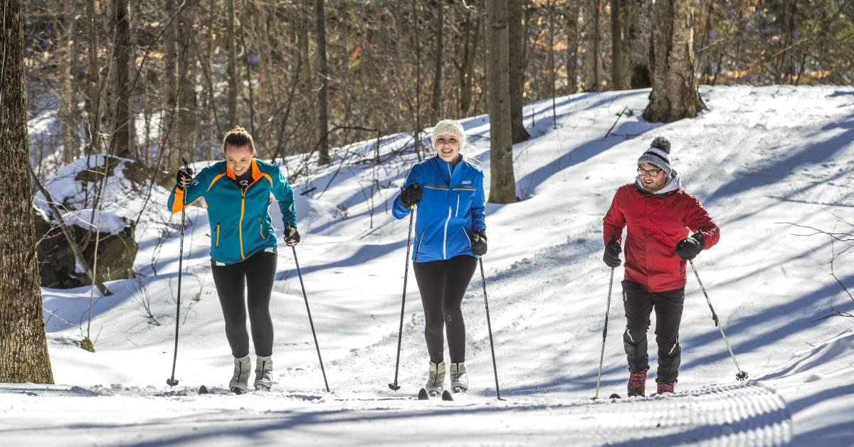 three cross country skiers