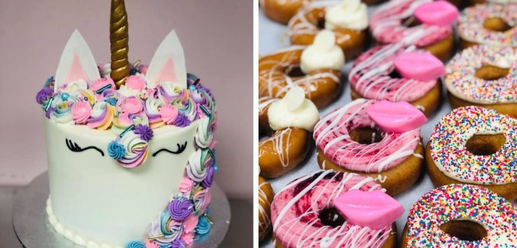 left image of a unicorn cake and right image of donuts