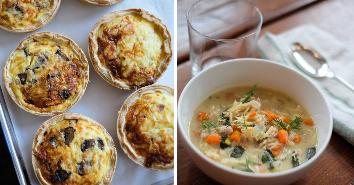 left photo of baked food and right photo of soup