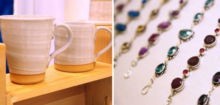 left image of two mugs, right image of jewelry