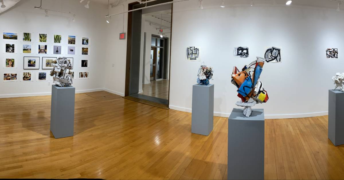view of exhibits in a gallery