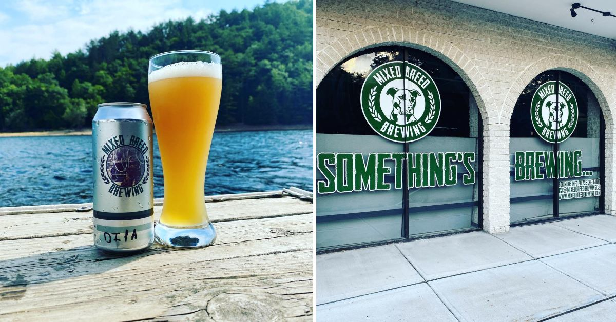 left photo of can and beer glass by lake, right photo of storefront
