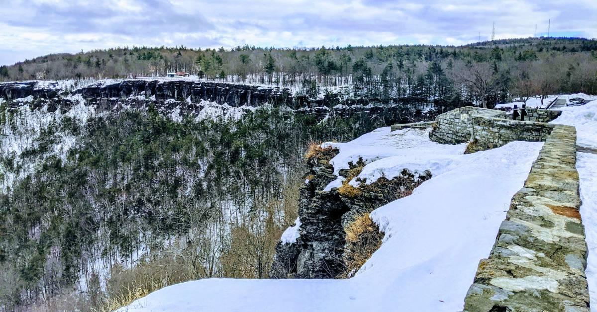 scenic overlook of winter landscape