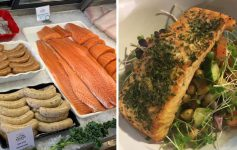 left photo of seafood market products, right photo of seafood dinner