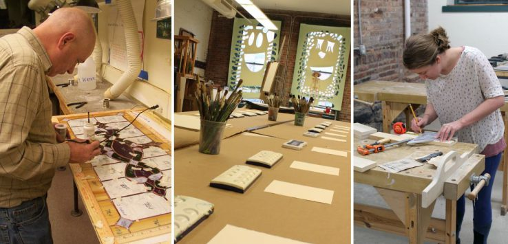 photo collage of man working on stained glass, woman woodworking, and a studio