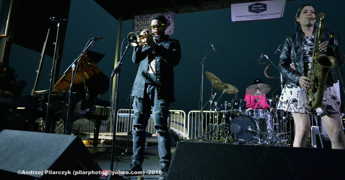 jazz musicians on stage at night