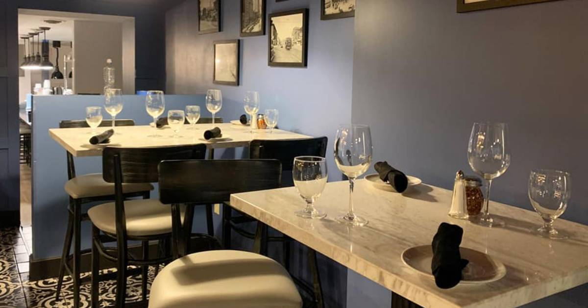 tables inside a restaurant dining room