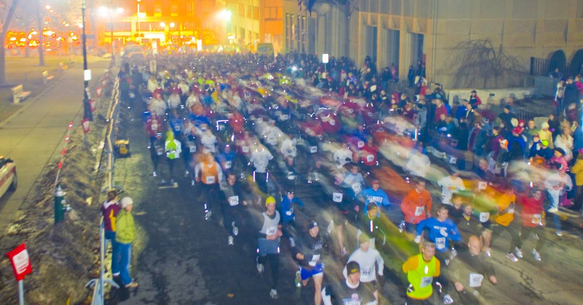 aerial view of a 5k race