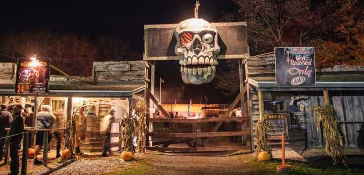 outside haunted hayride attraction